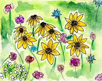 Daisy Cluster- Blank Greeting Card