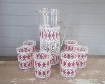 Vintage Pink Pitcher & Glass Set Vintage Barware Mixed Drink Serve Ware Vintage Retro Glasses And Pitcher Set