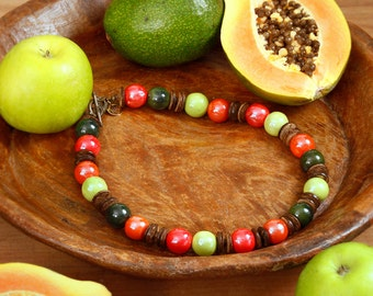Apples and Papaya, hand-crafted necklace, unique item, ceramic, coconut wood