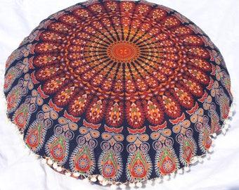 Indian large floor cushion cover mandala pillow floor pillow cover maroon pillow mandala cushion  floor pillow seating floor pillow kids