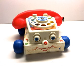 Vintage Fisher Price Chatter Phone 1980's Plastic Phone Toy
