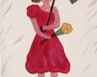 Lady in the Rain Canvas 6x12 Inches