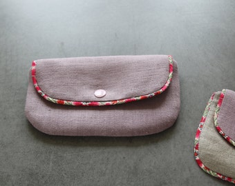 Parma and natural linen pouch iridescent, piping in Liberty