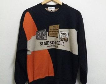 Vintage simpson club sweatshirt spelllout embroidered/medium/animation/sportwear