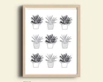 Instant download printable, black and white, black pattern print art, nature art, plant illustration, modern art print, cactus, digital art
