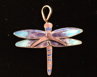 Sterling and enamel dragonfly pendant
