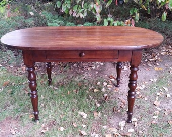 Antique French Farm Table - Antique French Pine Oval Louis Philippe Style Farm Table