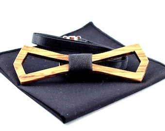 Zebrawood wooden bow tie (Hollow style) set