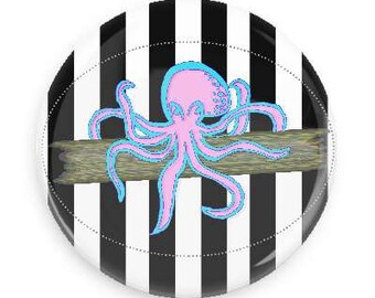 "SALE Pinstripe Neon Octopus, 1.25"" Pin, Original Artwork, Black Stripes, Pink Octopus, Squid Pins, Alt, Tumblr, Pastel Goth"