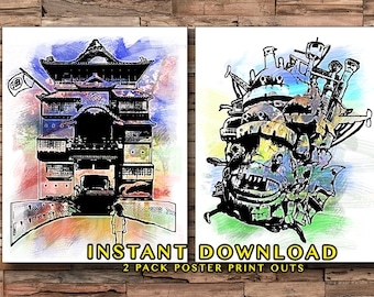 Hayao Miyazaki 2 Pack Prints, Howls Moving Castle, Spirited Away, Japanese Movies, Watercolor Prints, Childrens Movies, Home Decor, Anime