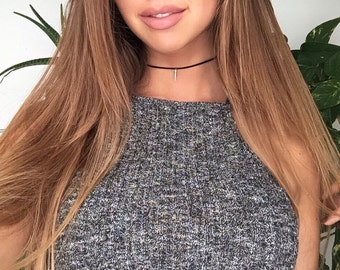 Silver Spike Choker Necklace