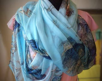 Blue Silk Scarf With Woodland Scene