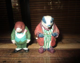 The Wind In the Willows - Badger and Mole  Ornaments (1980s)