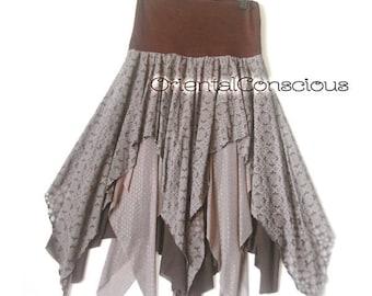 3 Kind of Fabric Combination Jagged Asymmetrical Layered Skirt Gypsy Boho Hippie Hippy Peasant Festival