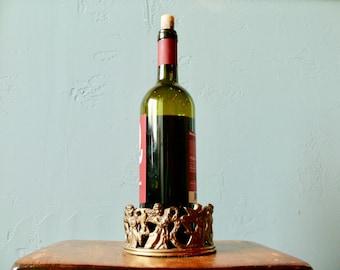 Brass Angel Wine Bottle Caddy, Ornate Angel Design, Andrea by Sadek, Boho Bottle Coaster