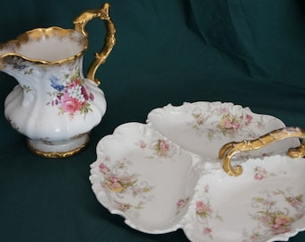 Reserved for B - Hammersley China Pitcher + Baroque 1960's  3 part shell dish, limited time lowered price, it was 110!!