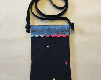 Denim Cell Phone Crossbody - fits up to an iPhone 6 Plus