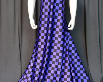 Purple and Black Checkered Lycra Fabric