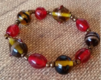 Brown Red and Gold Bracelet #16
