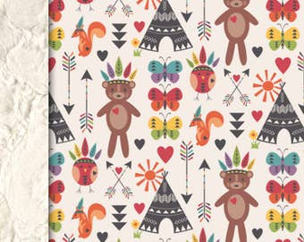 Baby minky blanket, tribal squirel and bear blanket, woodland teepee blanket, cuddle blanket, baby shower gift, birth gift, adult size