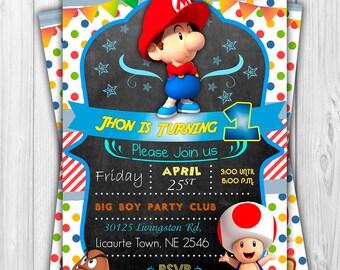 Digital invitation for Baby Mario Bross's Birthday.