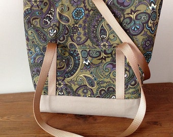 Green and Purple Paisley Large Sturdy Tote