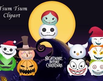NIGHTMARE BEFORE CHRISTMAS. 11 Tsum Tsum Digital Clipart. Party Supplies.