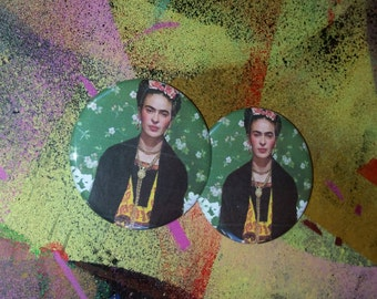 Frida Kahlo handmade 2-1/4 inch pinback button pin pins buttons pingame badge badges