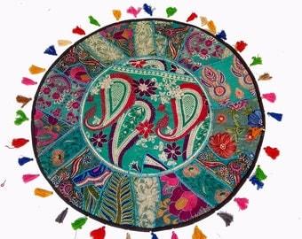 Handmade Round Floor Cushion Cover,decorative Patchwork Gypsy Roundies,Poufs,pouf,pouffe,Moroccan pouf,pouf ottoman,floor pouf,floor cushion