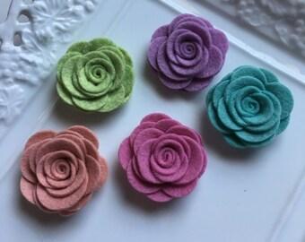 5 pcs Wool Felt Rose Flower, DIY Felt Flowers.