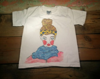 t-shirt, t-shirt, designed to hand, very small, x-small child, girl, headband to peas and scarf blue, single