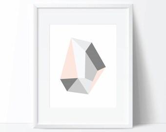Gemstone Print, Geometric Print, Geode Print, Gemstone Wall Art, Gemstone Poster, Geode Art, Geode Digital Print, Gemstone Printable