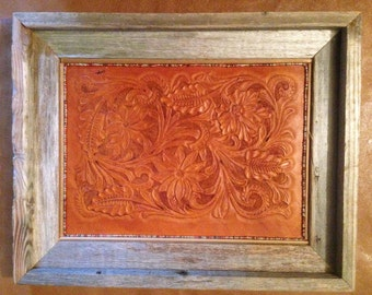 Bamboo/bead Outlined Leather Wall Art