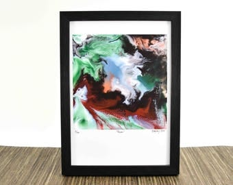 Red Abstract Print - Resin Art - Fluid Painting - Abstract Wall Art - Modern Art Prints - Horse Painting - Horse Art Print - Horse Lover