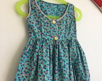 Kids 1950s Baby Dress Vintage Baby Girls Cotton Print Dress Infant Children's Size 6-12 Months