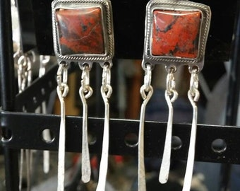 Square red Dangle Earrings