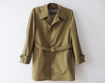 Vintage 80s Men Trench Coat Beige Khaki Trench Warm Trenchcoat Detective Coat Preppy Mens Overcoat Remove Insulation Belted Raincoat Medium