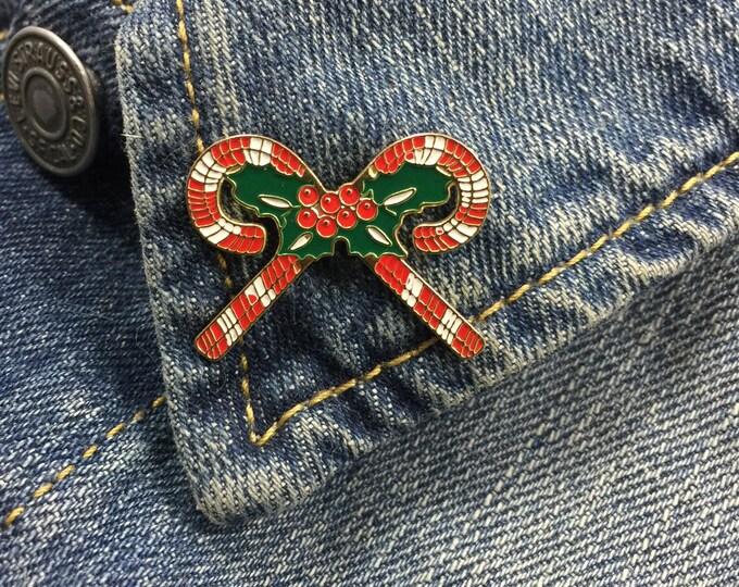 Vintage Candy Cane Mistletoe Lapel Pin (stock# 692) holidays, christmas, winter, holiday season, hat pin, enamel pin