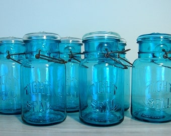 Set of 6 Vintage Blue Canning Jars