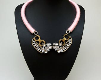 Light pink crystal bib statement necklace,pink necklace,clear necklace,Gold Silver Crystal Necklace,Gold/Antique, Clear Jewel, Crystal Bling