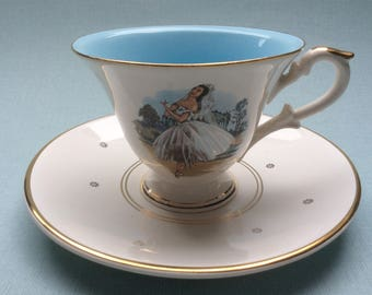 Vintage tea cup and saucer with the image of a ballet dancer