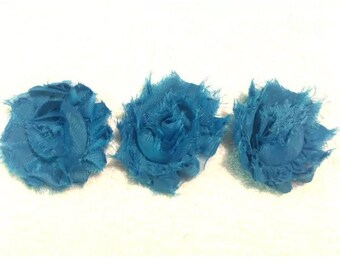 "Royal Blue Gorgeous Shabby Frayed Chiffon Flower Rosettes 3 x 2.5"", hair bands, clips, crafts etc"