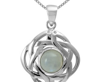 Celtic Knot Moonstone Sterling Silver Necklace, Infinity Knot, Gemstone, Birthstone, Round Moonstone, Irish Pendant, 925 Sterling Silver
