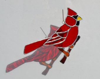 Stained Glass Cardinal on a Branch  suncatcher
