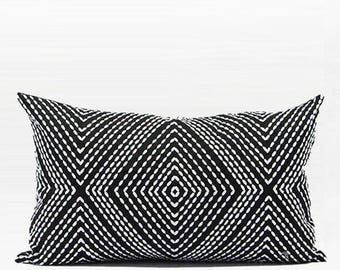 "Luxury Black and White Diamond Embroidered Pillow Cover 12""X20"""