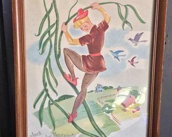 Fairy Tale Art Print Jack in the Beanstalk Framed Nursery Decor Child's Room