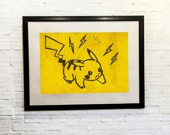 Pikachu, Pokemon,linocut,print making,Print, Artwork, Painting,Decor,Surreal,Art,geek,ink
