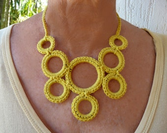 Crocheted necklace - funky statement jewellery. Lightweight with easy button clasp.