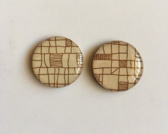 20mm Brown Etch Bamboo/Resin Studs • Resin Earrings • Bamboo Studs • Surgical Steel Posts