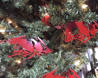 Set of 6 Licensed Razorback Ornaments